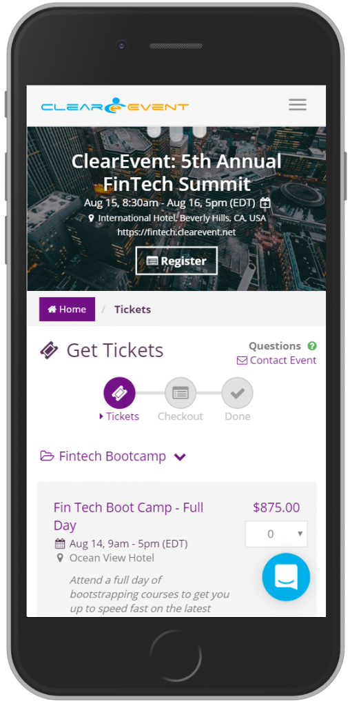 ClearEvent includes a built-in Web App with every event